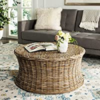 Woven Natural Rattan Palm Sturdy Wicker Round Coffee Table
