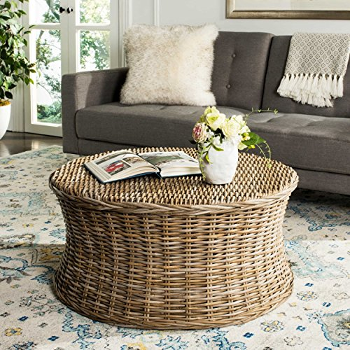 Indo Wicker Round Coffee Table Woven Natural Rattan Palm Sturdy