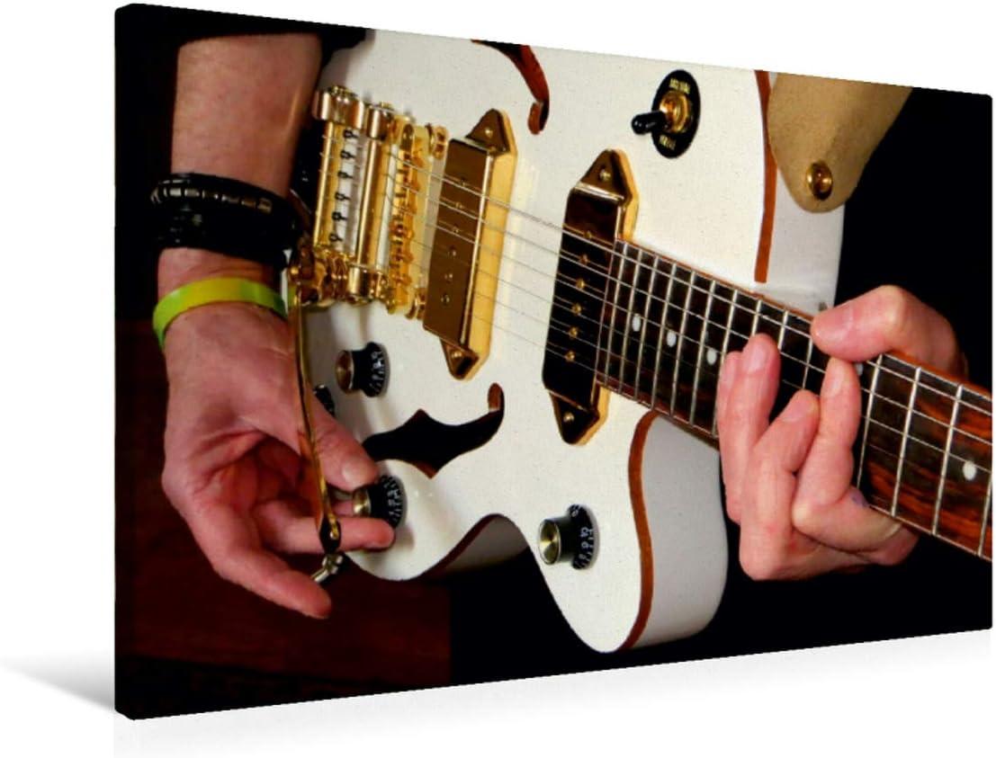 CALVENDO Lienzo Premium de 75 cm x 50 cm Horizontal, Imagen sobre Bastidor, Listo en Lienzo auténtico, impresión en Lienzo: Fascinante grabación de una Guitarra de Jazz (Arte