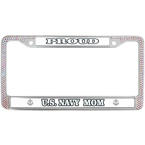 Amazon.com: Navy Mom Quotes Proud Pink Gilter License Plate ...