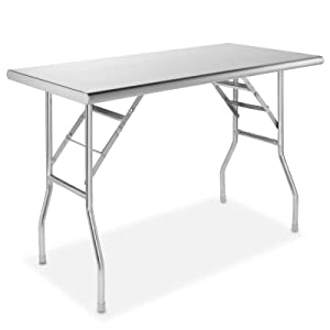GRIDMANN Stainless Steel Folding Table 48 x 24 Inch Kitchen Prep & Work Table