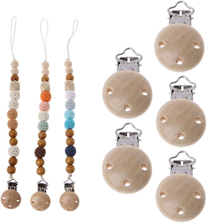 Lazder 7pcs Natural Beech Wood Baby Pacifier Clips Dummy Clips DIY Pacifier Chain Accessory