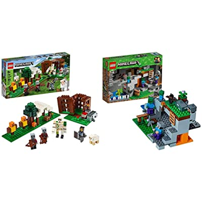 LEGO Minecraft The Pillager Outpost 21159 Awesome Action Figure Brick Building Playset & The Zombie Cave 21141 Building Kit with Popular Minecraft Characters Steve and Zombie Figure: Toys & Games