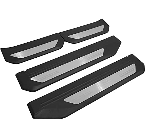 GEERUI 4PCS Advanced Threshold Protection Sticker Reflective Carbon Fiber Vinyl Sticker Decorative Door Entry Guard Door Threshold Scratch Pad Film for Honda HRV. White-HRV