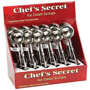 Chefs Secret 12pc T304 Stainless Steel Ice Cream Scoops in Countertop Display