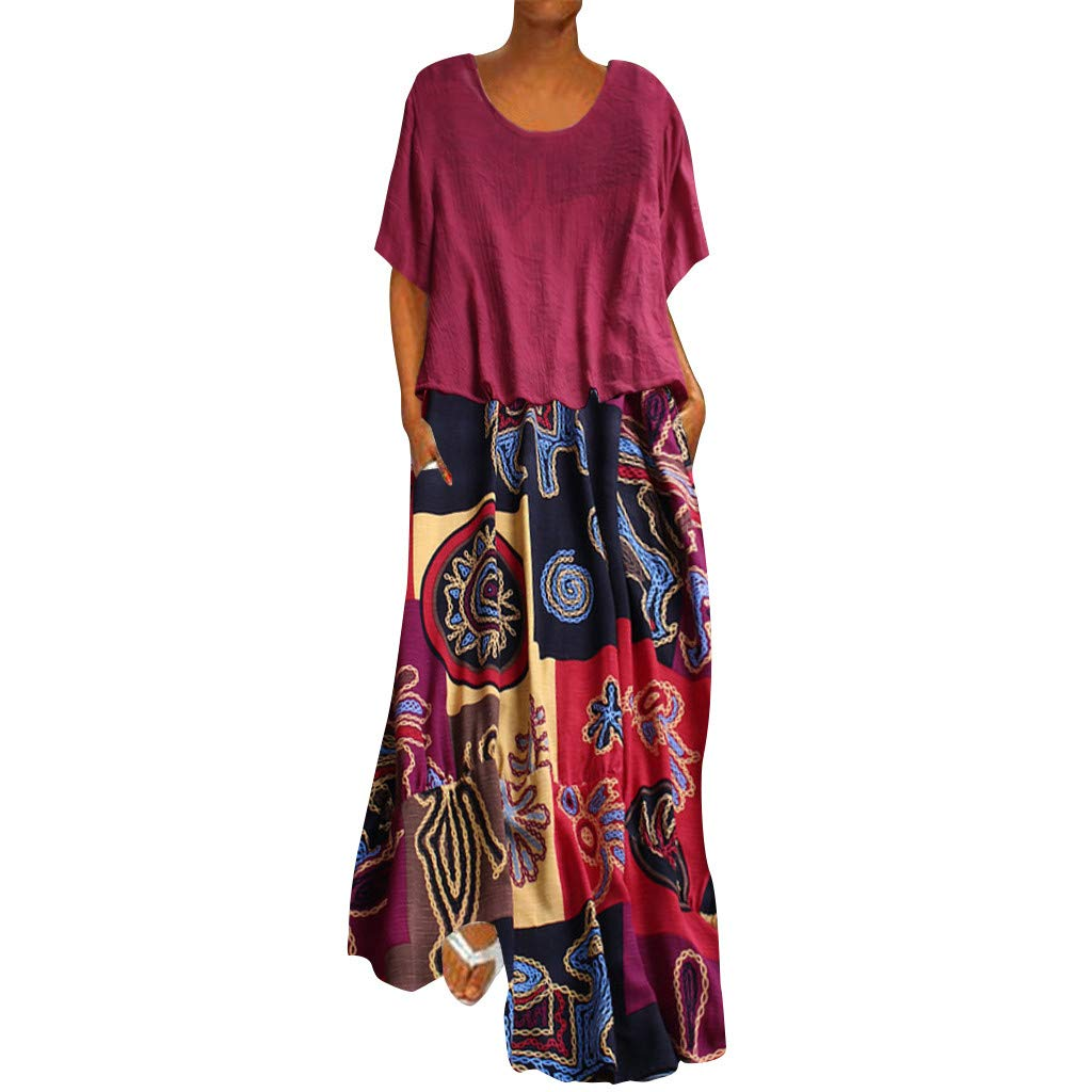 TOTOD Maxi Dress for Women Plus Size Patchwork Two-Piece O-Neck Short Sleeve Vintage Print Leisure Dresses Hot Pink