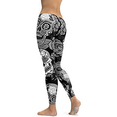 31272d49a3 MEIbax Casual Leggings Deportes Pantalones para mujeres Personalidad  Calavera Pintada Estampado 3D Imprimir Fitness Gym Yoga de Cintura Alta  deportivos ...