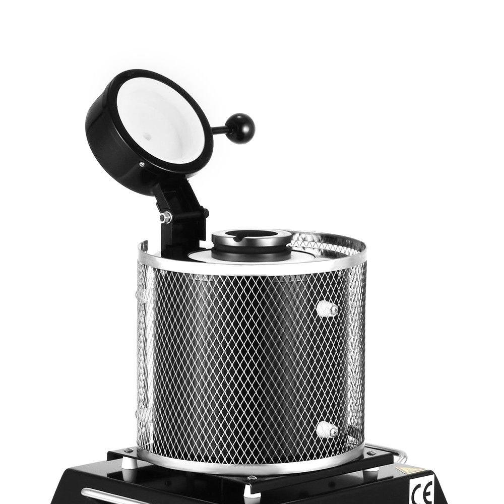 KPfaster Digital Melting Furnace Machine Heating Capacity 1600W for Refining Casting Copper Jewelry Making Precious Metals 110V 2KG Black Gold Melting Furnace