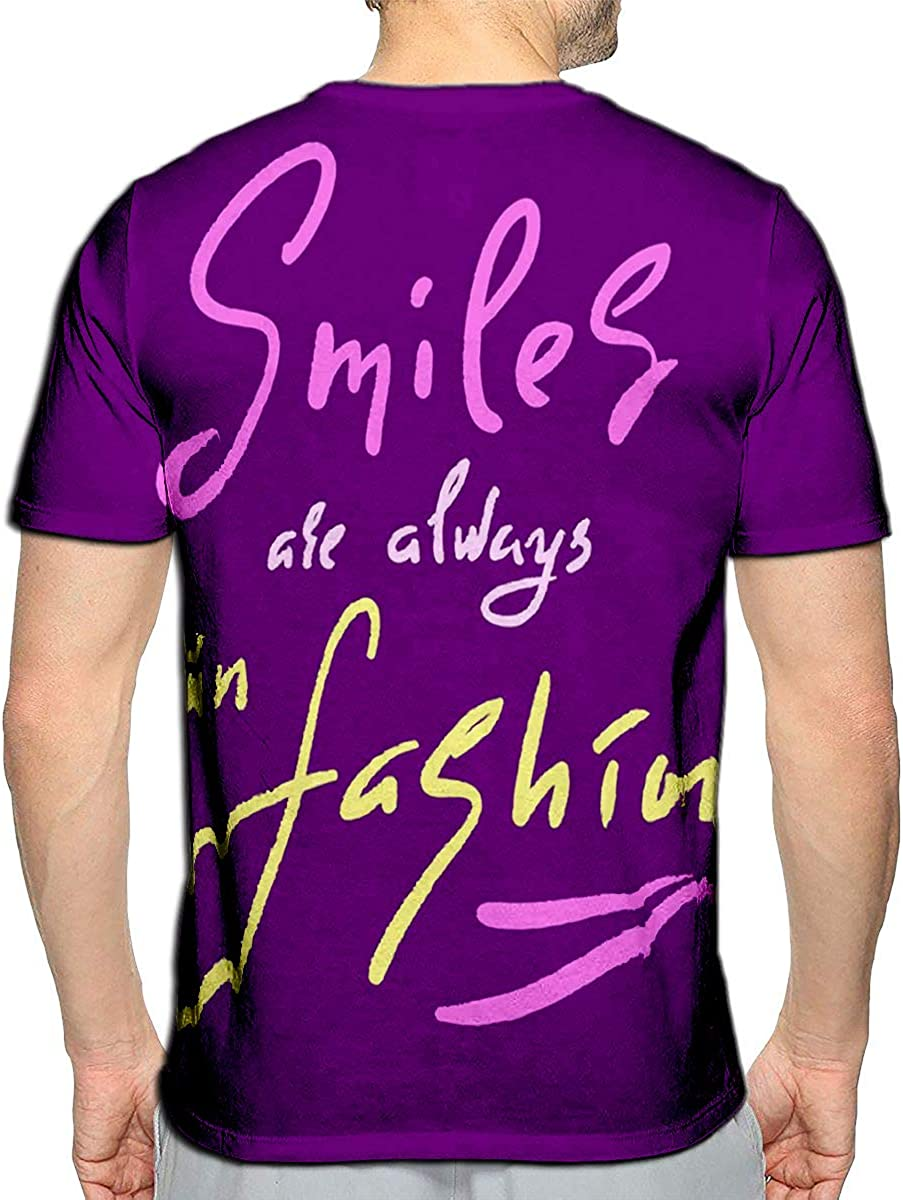 3D Printed T-Shirts Smiles are Always Fashion Short Sleeve Tops Tees