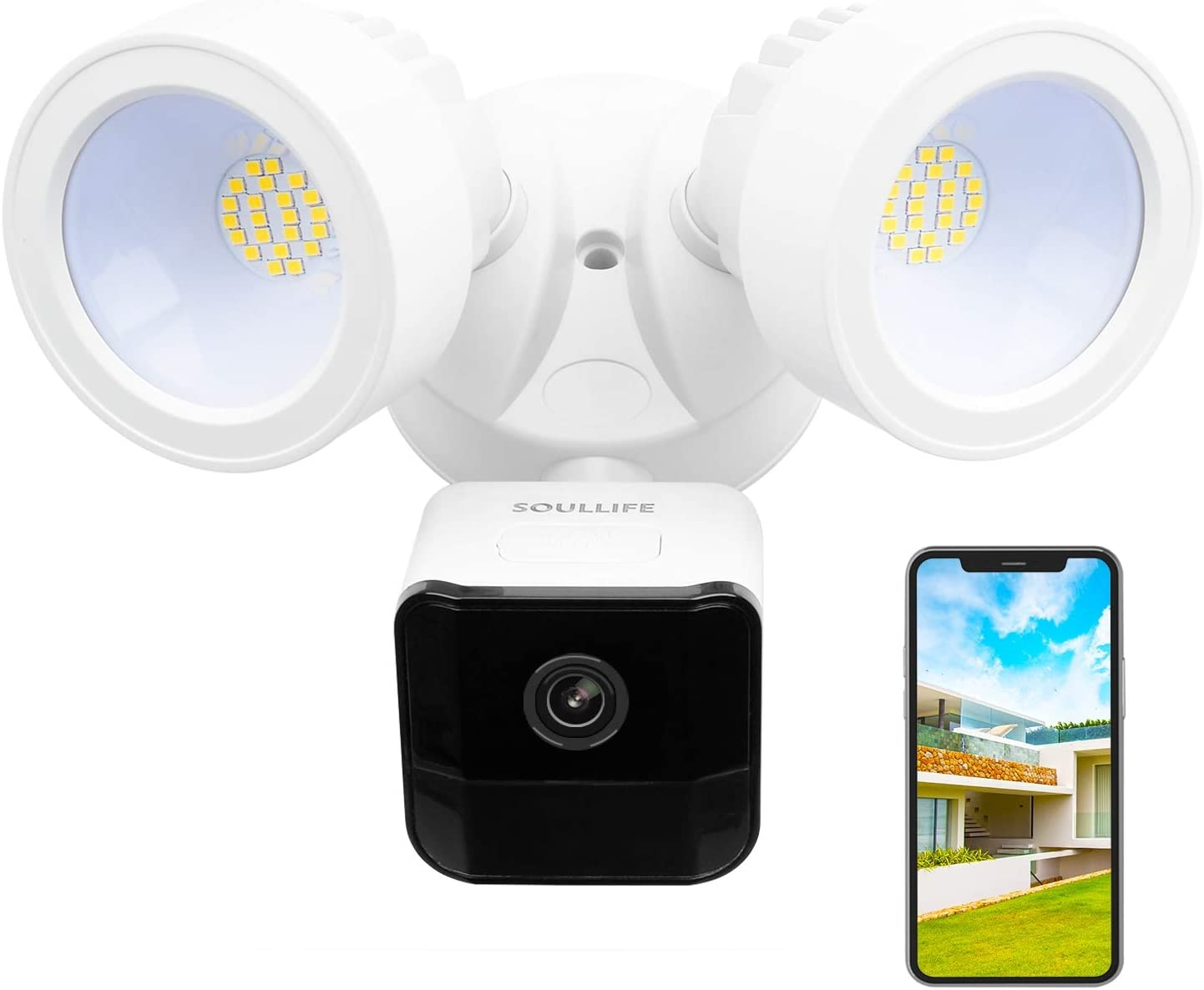 SoulLife Floodlight Camera, 1080P HD Outdoor Security Camera Motion-Activated Security Cam Two-Way Audio and Siren Alarm, 2200-Lumen Brightness, IP65 Waterproof, Compatible with Alexa (A-White)