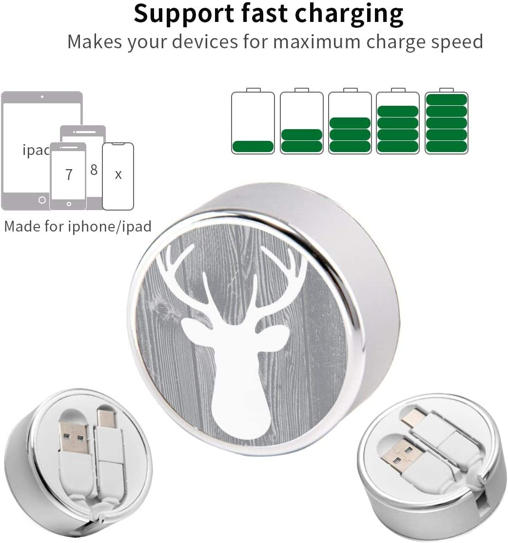 Multi Quick USB Charging Cable,Grey Wood Deer 2 in1 Fast Charger Cord Connector High Speed Durable Charging Cord Compatible with iPhone//Tablets//Samsung Galaxy//iPad and More