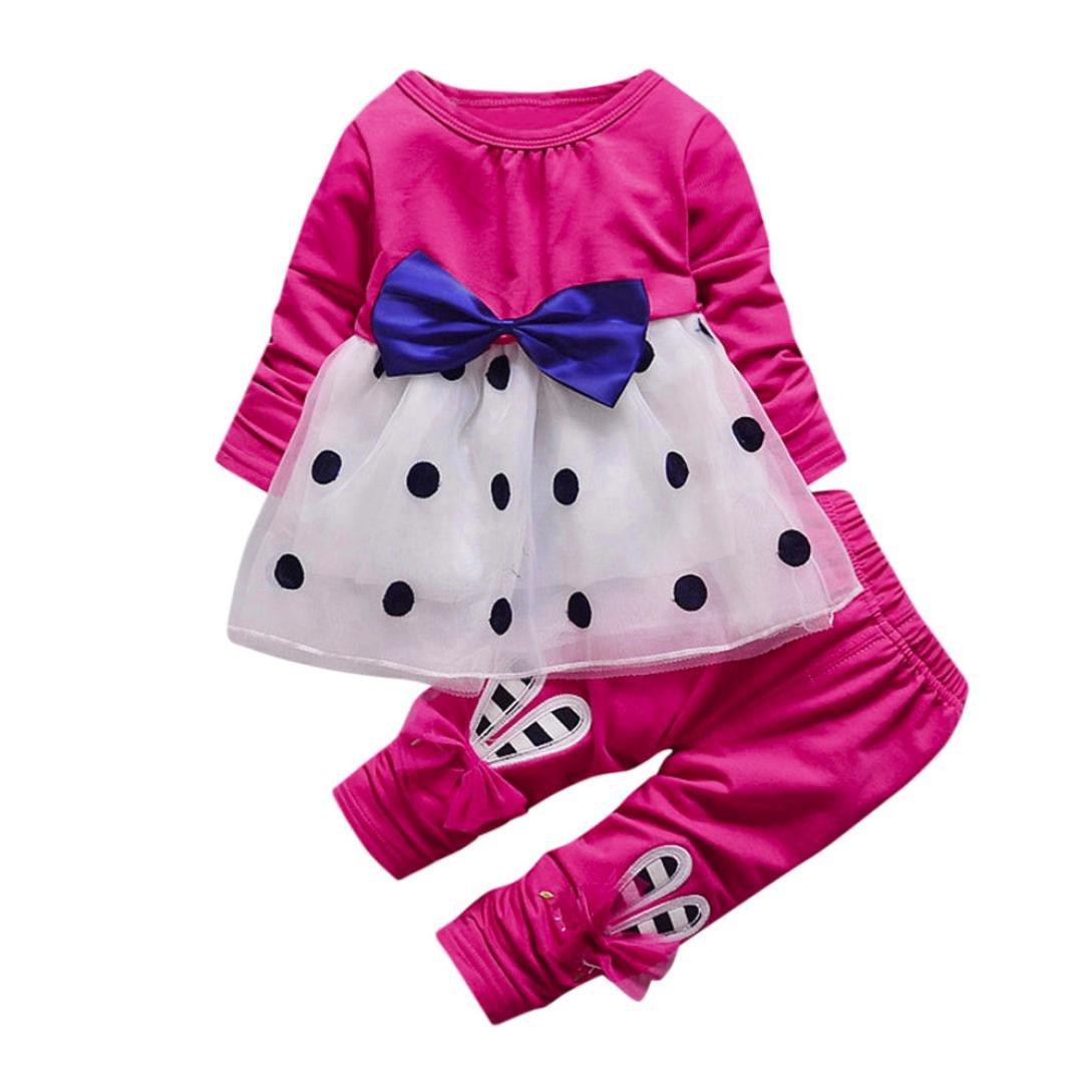 2pcs Carino Bambino Girl Bowknot Dot Manica Lunga Cime Principessa Vestito & Coniglio Pantaloni Set