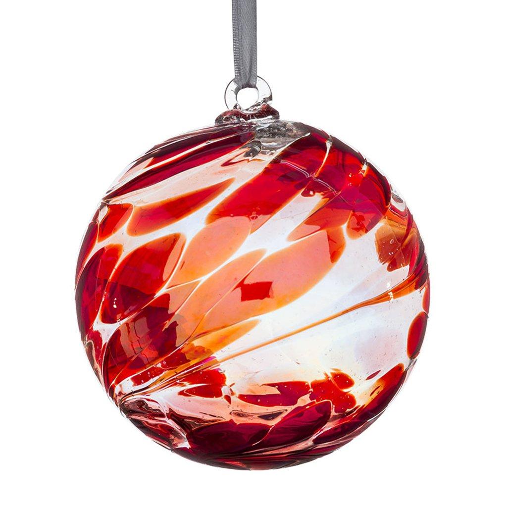 Hanging Glass Friendship Ball 10cm diameter , Ruby
