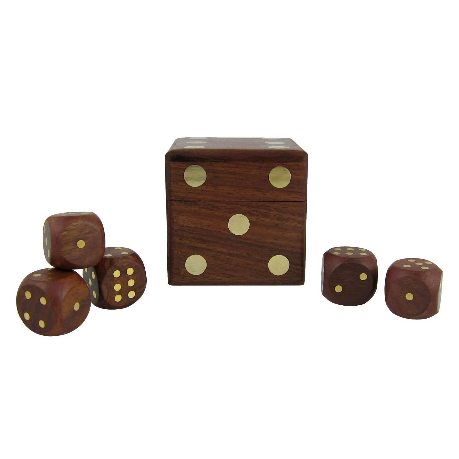 Wooden Dice Shape Dice Holder and Dice Games of Five Dices, Set of 12 - Christmas Thanksgiving Gifts for Kids & Adults