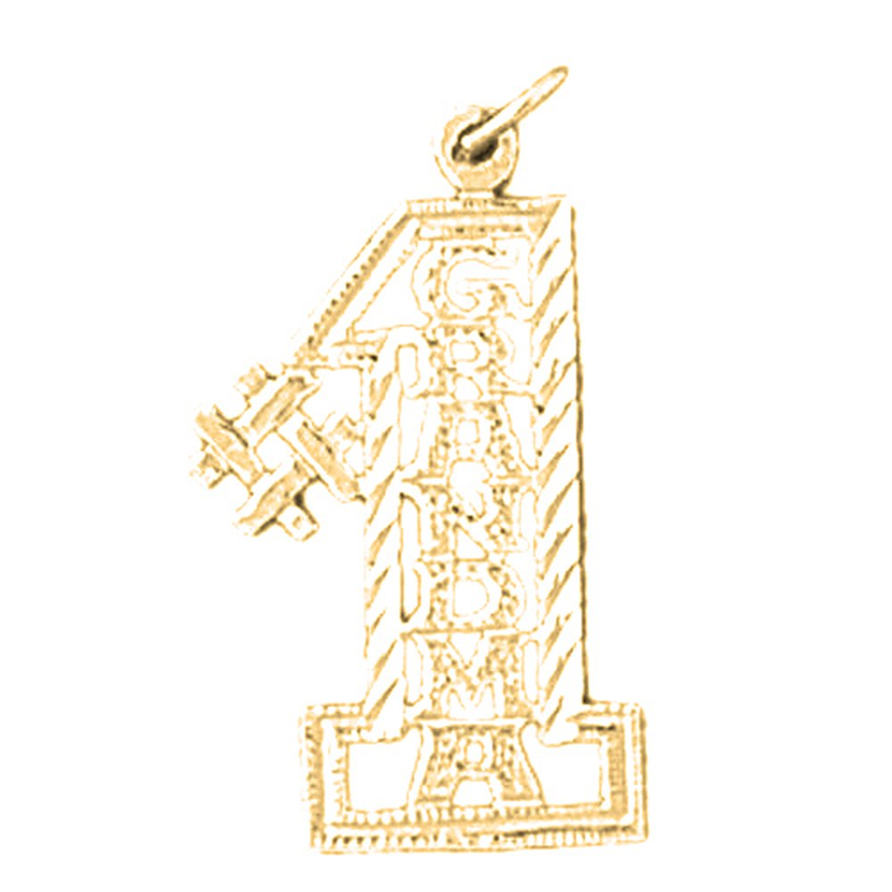 Jewels Obsession #1 Grandma Necklace 14K Yellow Gold-plated 925 Silver #1 Grandma Pendant with 16 Necklace