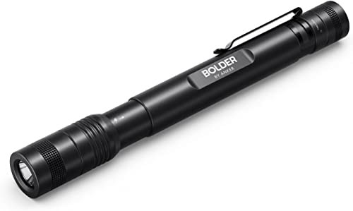 Anker Rechargeable Bolder P2 LED Pen Flashlight, 120 Lumens, IPX5 Water-Resistant, 900mAh NiMH Battery ×2 Included, 2 Modes (High Beam, Low Beam)