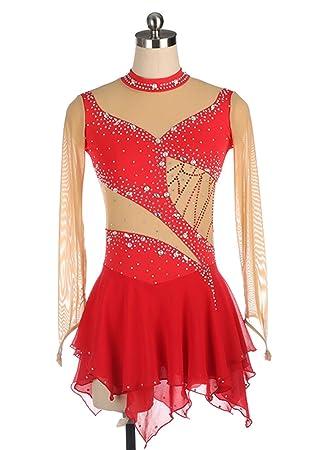 Vestido rojo de patinaje artístico para niñas, mujeres ...