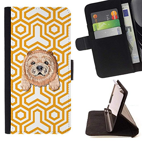 Patterns Trinity ([ CHOW CHOW ] Embroidered Cute Dog Puppy Leather Wallet Case FOR LG K8 (2018) / LG Aristo 2 / LG Risio 3 / LG Zone 4 / LG Tribute Dynasty/LG Fortune 2 [ Yellow Holy Trinity Pattern ])