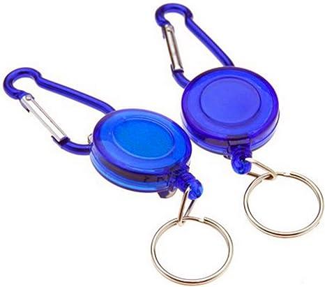 10pcs, bleu Nouveau 2 pieces noir porte-cl/és r/étractable bobine porte-cle badge carte didentit/é Pass