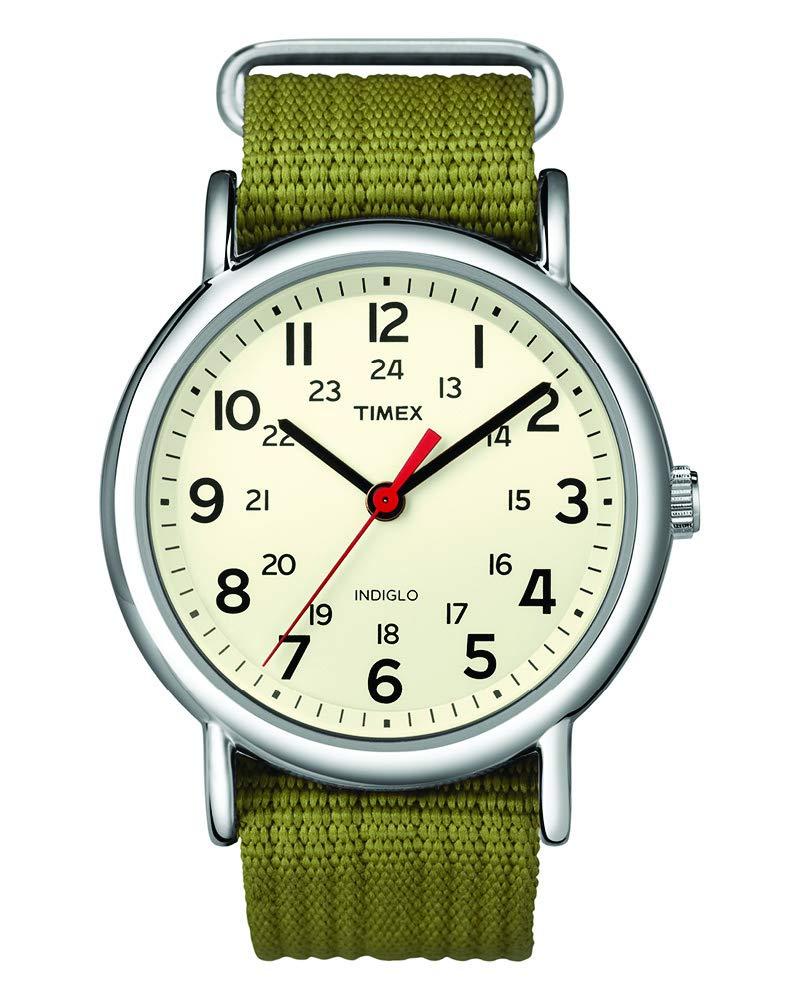 Timex Unisex T2N651 Weekender Olive Nylon Slip-Thru Strap Watch by Timex