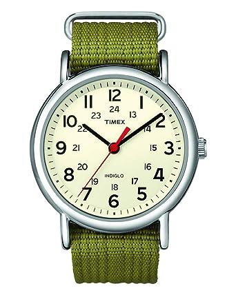 2afad483d1ef Amazon.com  Timex Unisex T2N651 Weekender Olive Nylon Slip-Thru ...