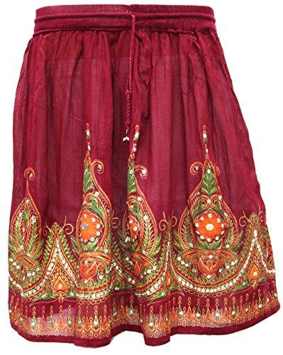 Longueur Genou Femmes Jupes Bordeaux Inde Vtements Paillettes Indiennes BqB76nwO