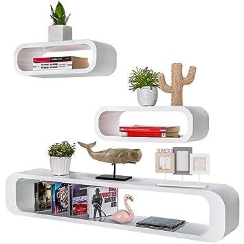Mensole Quadrate Design.Bakaji Set 3 Mensole Da Parete Moderne Design Cubo Ovale Mensola Scaffale 2 Ripiani In Legno Mdf 2 Dimensioni Bianco