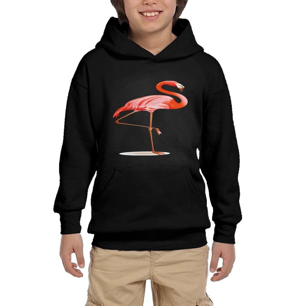 Quliuwuda Teen Girls Single Flamingo Funny Walk Black Hoodies