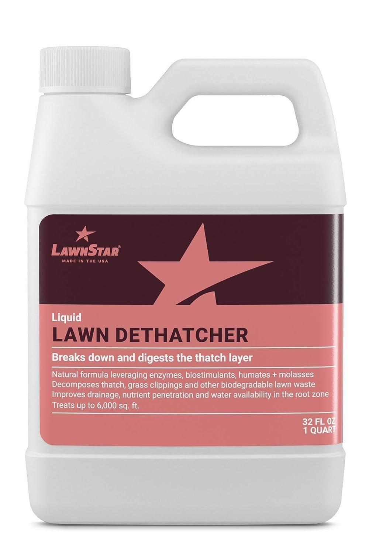 LawnStar Liquid Lawn Dethatcher (32 OZ) - Easy Alternative to Dethatch Rake & Mower - Digests Harmful Thatch Layer – Pair with Liquid Aerator - American Made