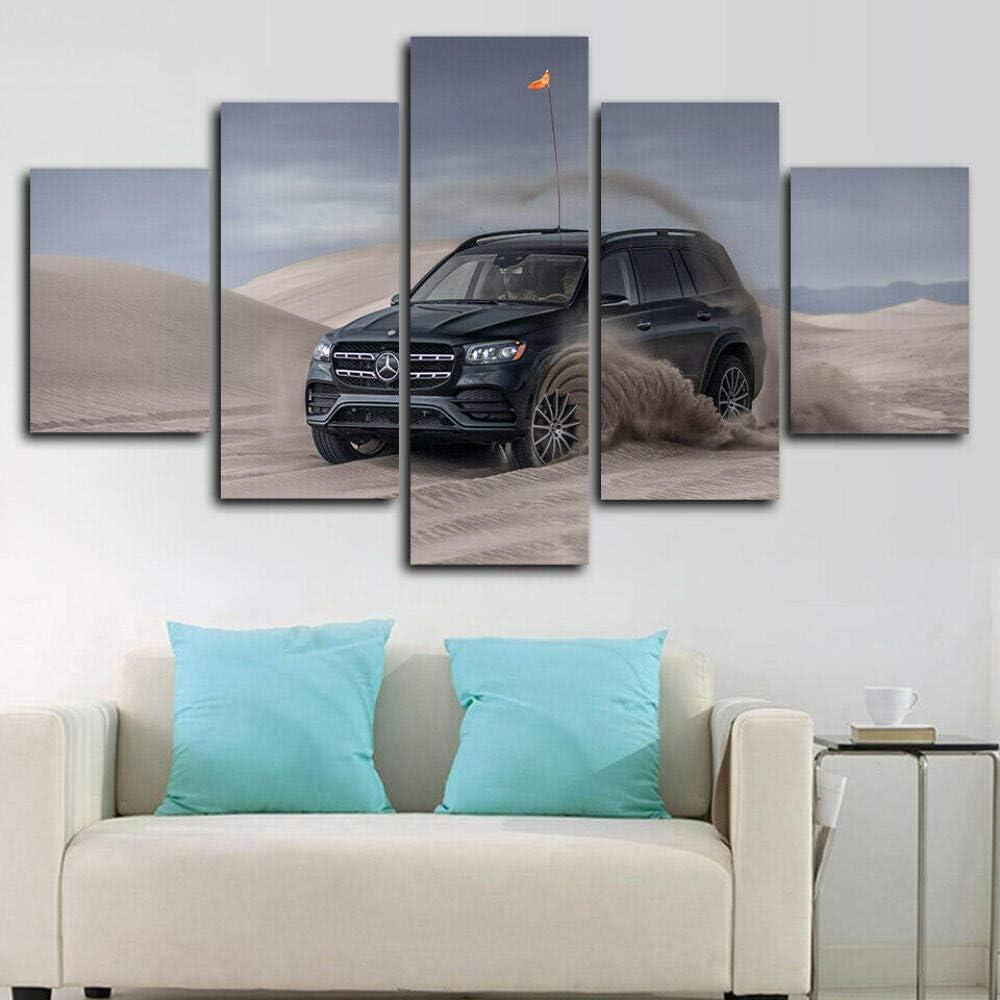 SINGLEAART 5 Piezas Lienzo Pintura,5 Paneles Cuadros,Impresión HD,Modular Póster,Decoración Hogareña,Mural Abstracto,Regalo Cumpleaños,2020 Gls 580 SUV,150Cm×80Cm,con Marco