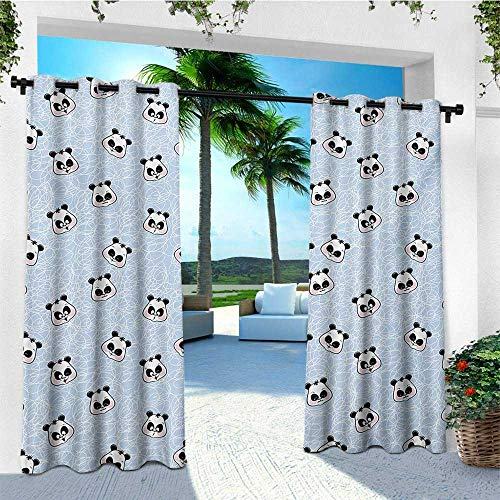 leinuoyi Panda, Outdoor Curtain Kit, Muzzles Panda Illustration with Happy Sad Funny Surprised Faces Different Expressions, Fashions Drape W72 x L96 Inch Blue Black