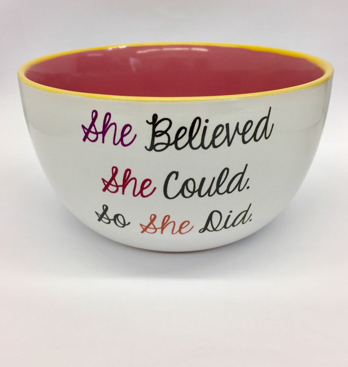 Mug Me I'm Famous 6'' 20 Ounce Ceramic Soup/Cereal Bowls ''She Belive She Could So She Did'' Bowl