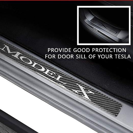 Car Sill Entry Guards for Tesla Model-3 Model-S Model-X Anti-Kick Scratch Scuff Plate Protectors Carbon Fiber Stickers 4Pcs Red