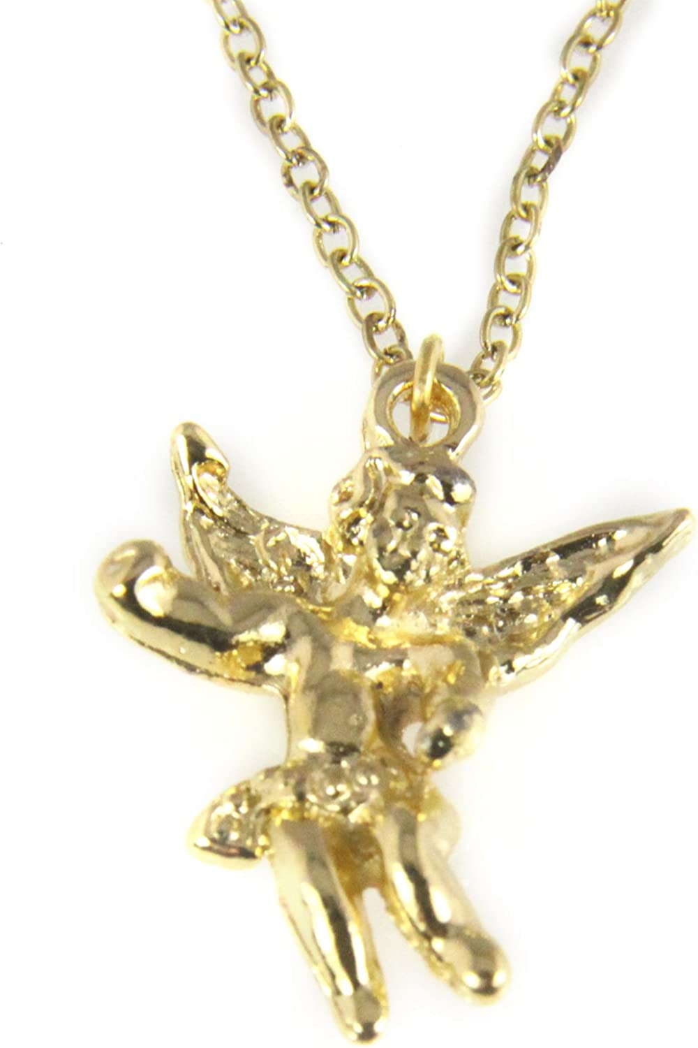 14k Gold Christan Charm Guardian Angel Wings Pendant Necklace