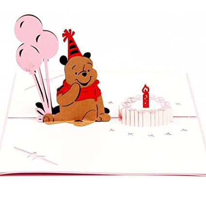 Amazon sprinkles gifts laser cut 3d pooh bear birthday sprinkles gifts laser cut 3d pooh bear birthday greeting cards pop up card free insert m4hsunfo