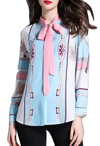 b2d47687e21 ainr Women s Winter Long Sleeve Print Flowers Slim Fit Bow Tie Blouse Top 1  S