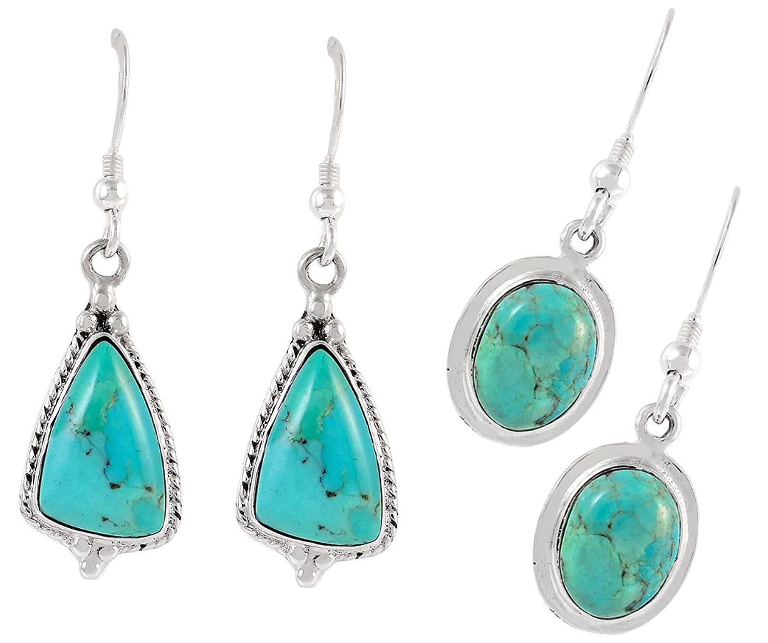 Turquoise Earrings in 925 Sterling Silver & Genuine Gemstones (TWO pairs included)