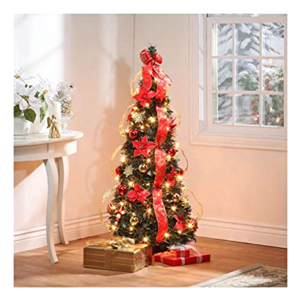 Amazon.com: 4 Foot Tall Pop Up Fully Decorated Pre-Lit Red & Gold ...