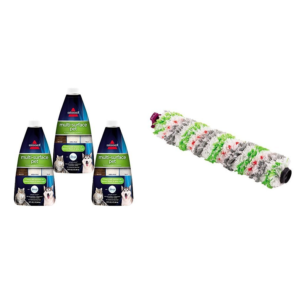 Bissell Crosswave Pet Accessory Bundle Multi Surface Pet Floor Cleaning Formula, 3 Pack, Green and Tangle-Free Crosswave Multi-Surface Pet Brush Roll, White