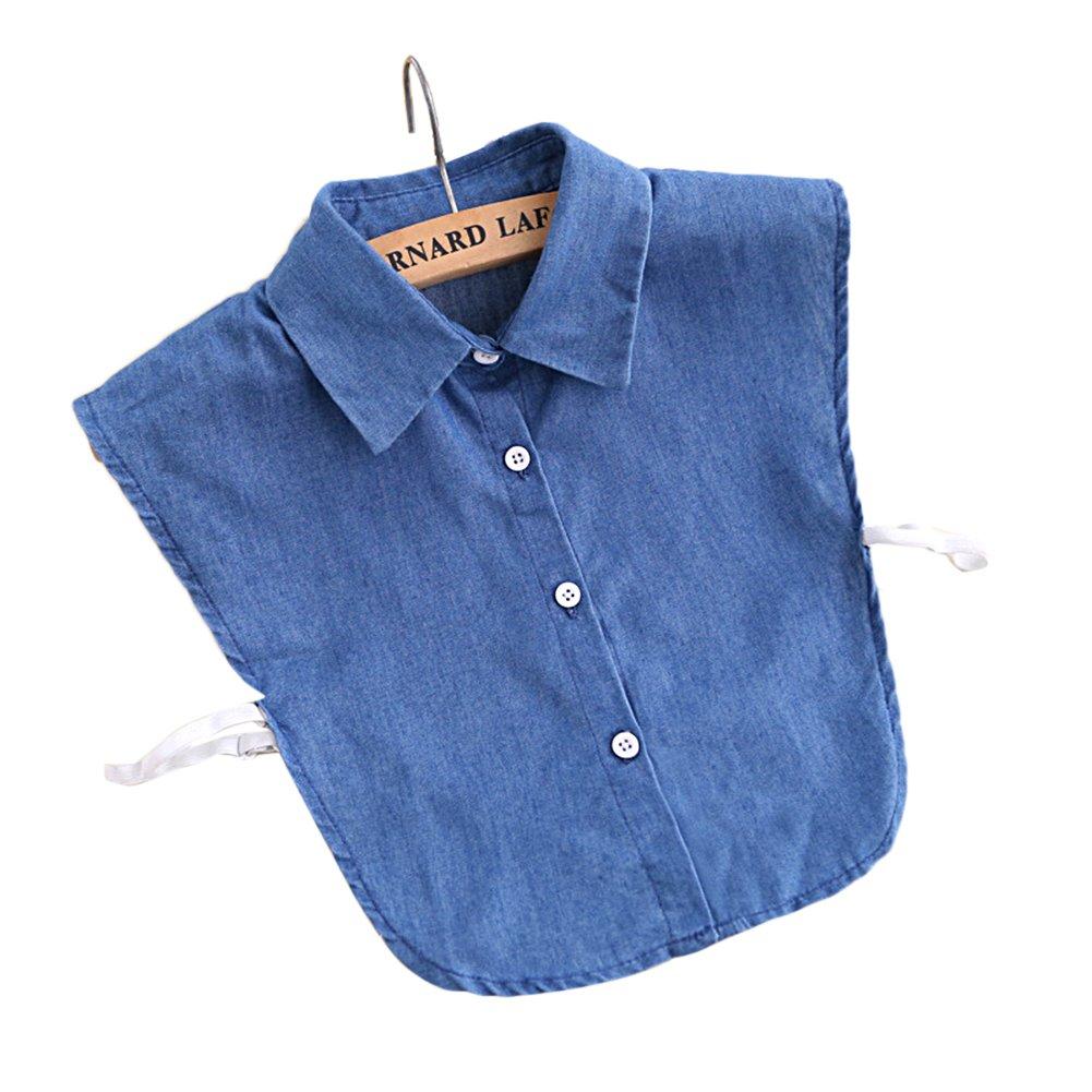 TININNA Moda Mujeres Fake collares Vintage Denim falso mitad camisa desmontable blusa