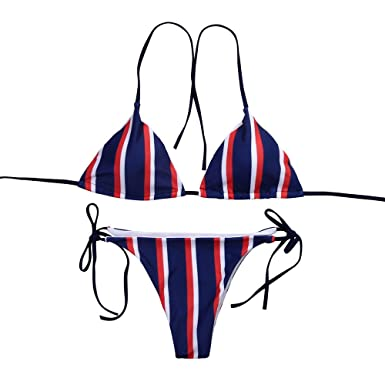 a61f9c915ec1c Libermall Women s Sexy Striped Padded Halter Top Tie Side Bottom String Bikini  Two Piece Swimsuits Bathing