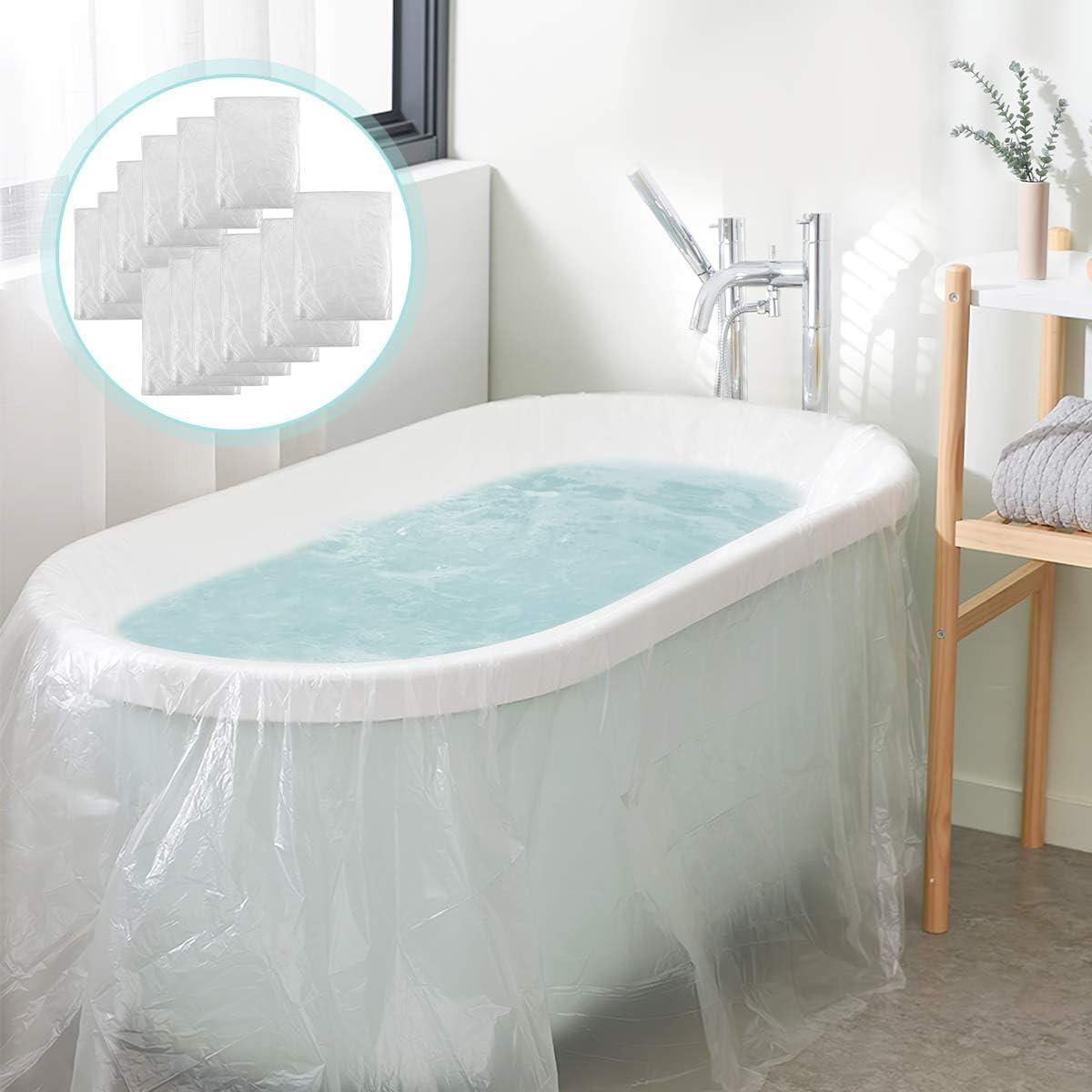 AGPTEK 12 Pack Disposable Bathtub Cover Liner, Large Bathtub Liner Plastic Bag for Salon, Household and Hotel Bath Tubs (102 x47 Inch): Home & Kitchen