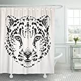 really cool shower heads Emvency Shower Curtain 66x72 White Tatoo Snow Leopard Head Black Silhouette Face Animal Abstract Cat Cool Mildew Resistant Bathroom