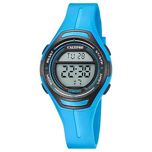 Calypso Armbanduhr für Damen Digitaluhr Sport - K5727/4 - PU-Armband blau Quarz-Uhr UK5727/4