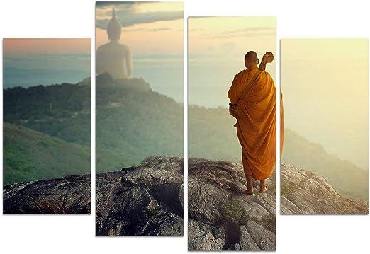 LIS HOME Religión Arte de la Pared 4 Piezas Pintura de Buda Monje ...