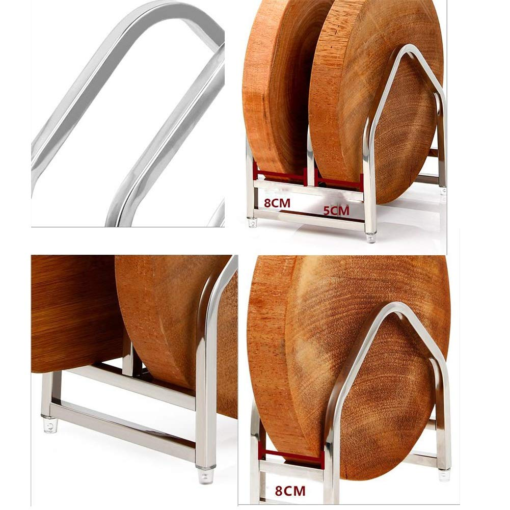 Qwer Creative Thickened 304 Stainless Steel Cutting Board Rack Cutting Board Rack Plate Rack Kitchen Rack Storage (Size : B) by Qwer