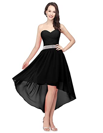 cf1bc3bae7a Sarahbridal Women High Low Lace up Prom Party Chiffon Homecoming Dresses  Black US2