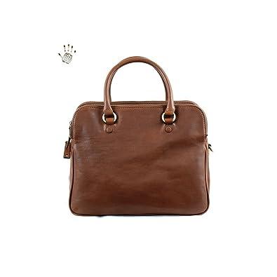 bb77c12d3a Dream Leather Bags Made in Italy Cuir VÃritable Sac à Main Pour Femme Avec  Compartiments Et