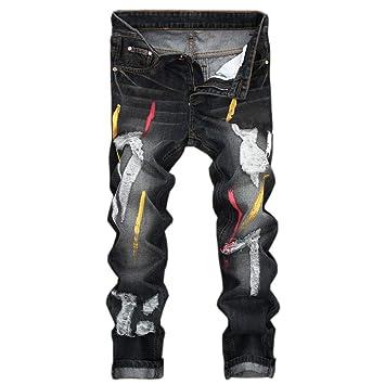 Vaqueros rotos hombre baratos streetwear,jeans hombre ...