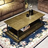 Cheap Coffee Table Bronze Modern Industrial Vintage Home Office Soild Wood Metal Table with Open Storage Shelf Easy-Assembly 47.2 x 23.6 x 16.7 Inches for Living Drawing Receiving Room